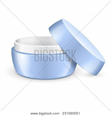 Opened Empty Cream, Gel Or Powder, Light Blue Jar Can Cap Bottle. Blank On White Background Isolated