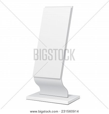 Outdoor Advertising Stand Banner Shield Display, Advertising. Illustration Isolated On White Backgro