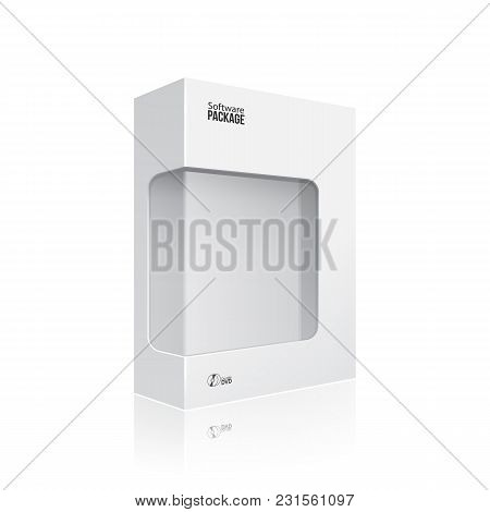 White Modern Software Product Package Box With Window For Dvd Or Cd Disk Eps10