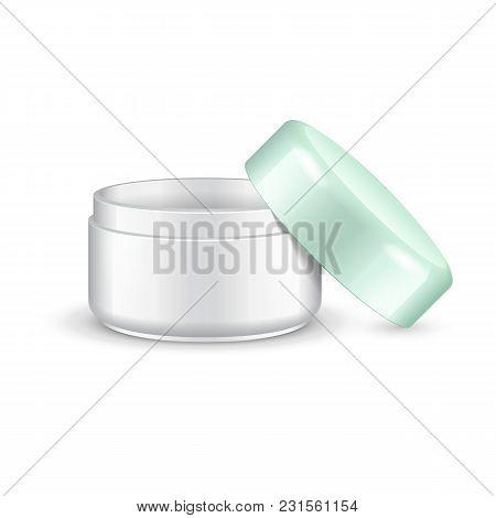 Opened Empty Cream, Gel Or Powder, Light Green Turquoise Jar Can Cap Bottle. Blank On White Backgrou