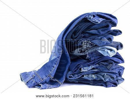 Jeans Stacked Isolated On White Background.