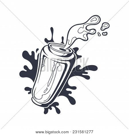 Vector Hand Drawn Black And White Illustration Of Can With Beer Or Soda. Aluminum Bottle With Drink