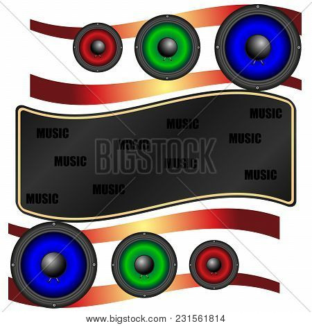 Music Abstraction, Multicolored Acoustic Speakers. Vector, Illustration