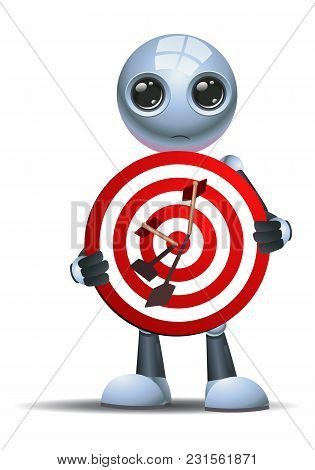 Illustration Of A Droid Little Robot Hold A Target Symbol On Isolated White Background