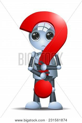 Illustration Of A Droid Little Robot Hold A Question Symbol On Isolated White Background