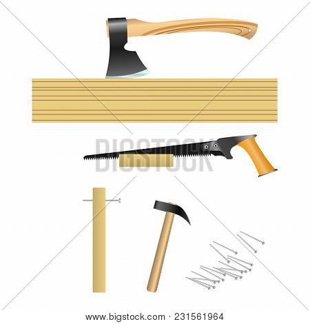 Tools For Carpenter ( Hammer, Hand Saw, Axe ). Vector, Illustration