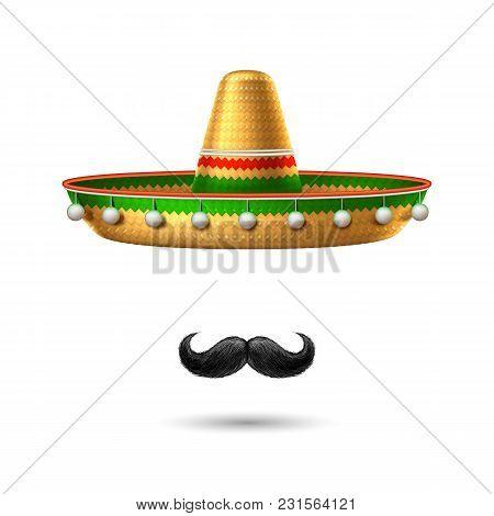 Sombrero Realistic Mexican Hat Mustache. 3d Cinco De Mayo Festival Holiday Celebration Object. Spani
