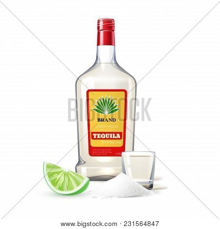 Realistic Tequila Glass Bottle Shot With Lime Slice, Salt Powde. Traditional Mexican Alcohol Drink P