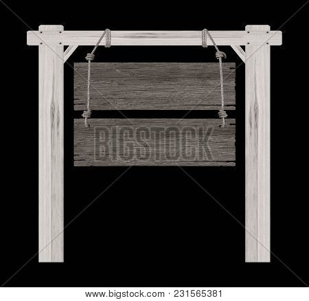 Wooden Sign Isolated On A Black Background