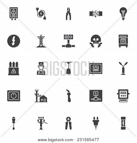 Electrician Elements Vector Icons Set, Modern Solid Symbol Collection, Filled Style Pictogram Pack.