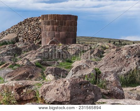 Tombs Of Sillustani Near Puno Sillustani Titicaca Lake Puno Peru South America