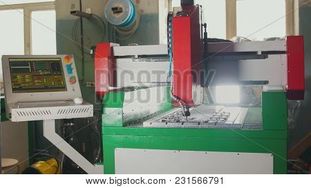 Cnc Milling Or Drilling Machine, Close Up