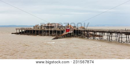 Ruins Of Birnbeck Pier Off Weston-super-mare, Somerset, England