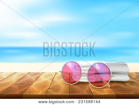Vector Realistic Retro Hipster Sunglasses, White Towel Wooden Floor Table Deck Timbers Walkway Beach