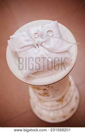 Wedding Rings On The Pillow Color. Ceremony