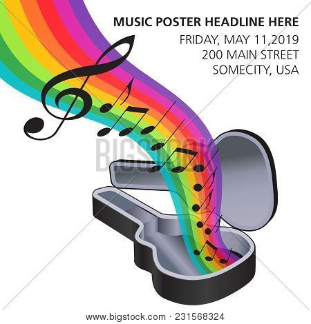 A Rainbow Of Music Flows From A Guitar Case In This Music Graphic With Space For Type