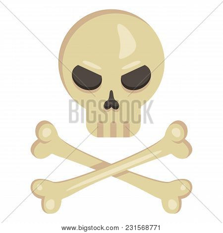 Vector Icon - Skull With Crossed Bones. Pirates Symbol.