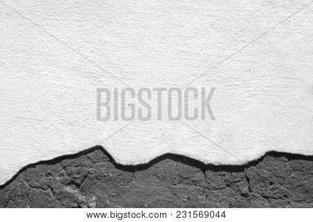 Template For Grunge Design Background. On The Old Wall Part Of The Plaster Fell Off And Cement Is Vi
