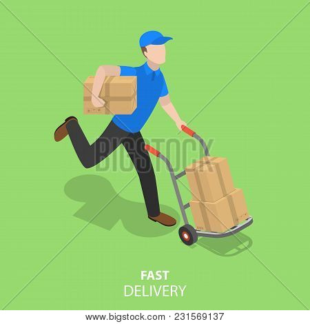 Happy Courier Flat Isometric Vector Concept. Fast Delivery.
