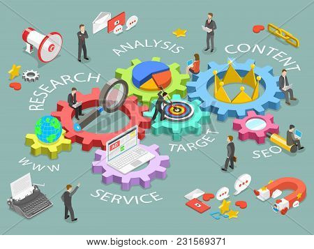 Digital Marketing Flat Isometric Vector Concept. Renders Dm As Gears With Names Www, Research, Analy