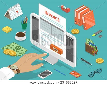 Invoice Flat Isometric Vector Concept Of Online Payment, Shopping, Banking, Accounting, Tax