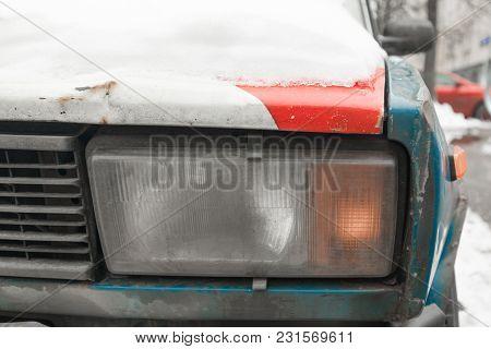 An Old Rusty Soviet Car.