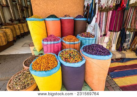 Marrakesh, Morocco - December 8, 2016: Piles Of Vibrant, Colourful Herbs And Potpourri In Bags At A