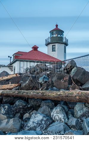 A View Of A Lighthouse In West Seattle, Washington.