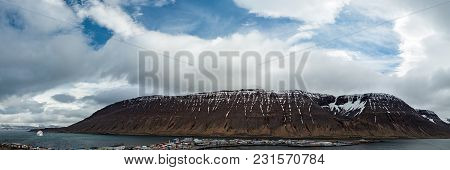 Panoramic View Of The Mountain And The Harbor In Isafjordur, Iceland