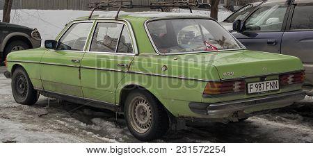 Kazakhstan, Ust-kamenogorsk, March 16, 2018: Mercedes-benz W123 230e. Old German Car. Mercedes W123