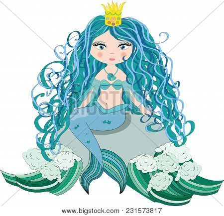 A beautiful little mermaid is sitting on a rock. Siren. Sea theme. vector illustration on a white background. poster