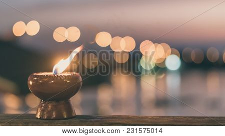Soul And Spirituality Abstract Concept  For Mourning And World Human Spirit Day With Warm Candle Lig