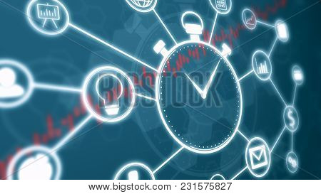 Futuristic Hud With A Stopwatch, Business And Finance Symbols Connected Each Other, Abstract Symbols