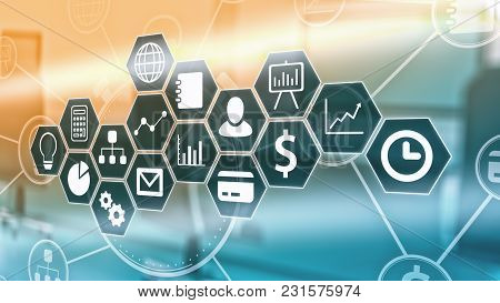 Hexagon Pattern With Business And Finance Symbols, Office Interior Out Of Focus On Background (3d Re