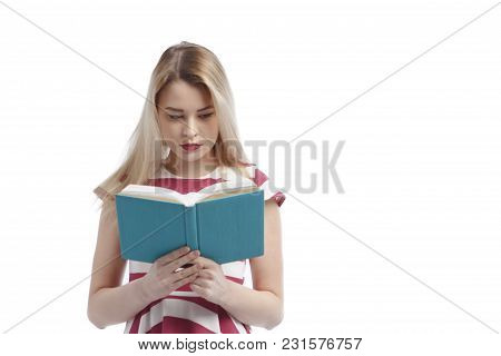 Young Girl With Book Isolated On A White Background.