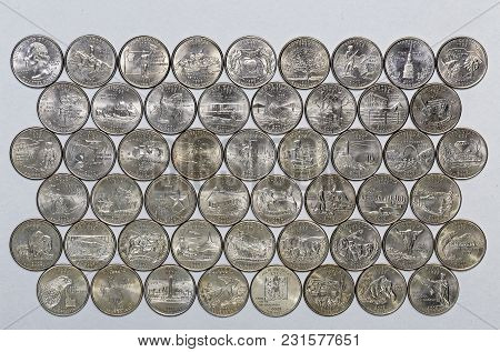 1999-2009 Us State Quarters Complete Set Of 50 Used Coins With A Unique Image On The Reverse Of Each
