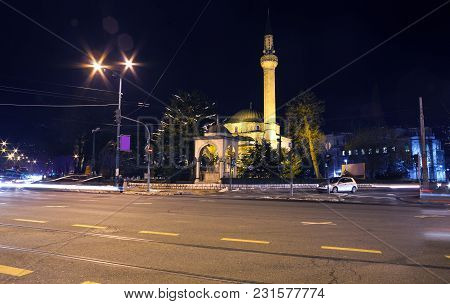 Night view of the Ali Pasha's Mosque or Ali Pasha Mosque in Sarajevo poster