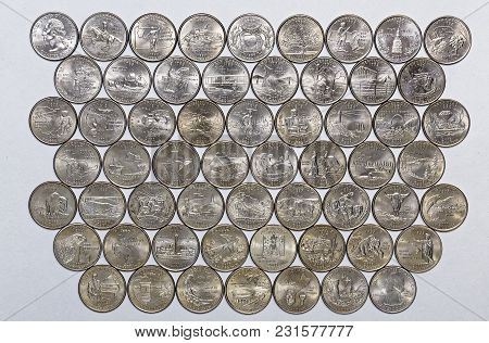1999-2009 Us State Quarters Territories Complete Set Of 56 Used Coins With A Unique Image On The Rev