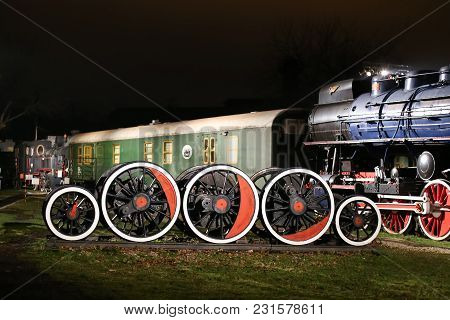 Zagreb, Croatia - December 13th, 2017:advent Time At The Croatian Railway Museum.wheels From Steam L