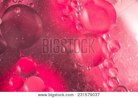 Abstract Fullcolor Background. Drops And Bubbles Of Liquid. The Concept Of The Microcosm. Toned.