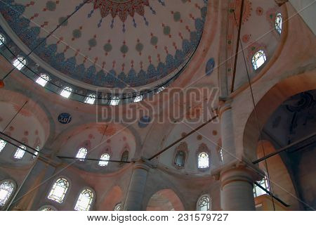 Istanbul, Turkey - March 26, 2012: Ceiling Of Eyupa Mosque.