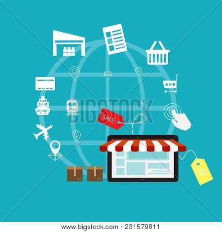 E-commerce, Electronic Business, Online Shopping, Payment, Delivery, Shipping Process, Sales