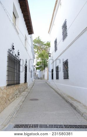 White Alley In The Village Of Belmonte, Province Of Cuenca, Spain.
