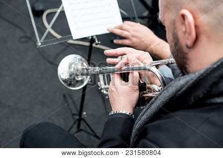 Detail Of A Trumpet Played By A Musician, Brass Instrument Used For Jazz, Modern And Classical Music