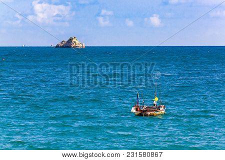 View Of Small Fishing Boat And Small Island At Koa Samed Or Koh Samed In Rayong Province Thailand