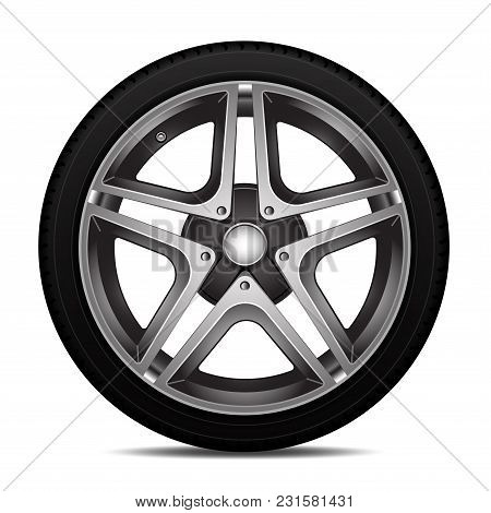Realistic Car Tire Wheel Alloy With Tire Design Sport On White Background Vector Illustration.