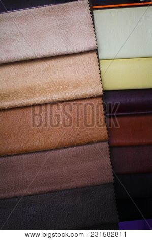 Swatches Of Artificial Skin. Fabric For A Furniture Upholstery.