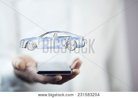 Businessman Hand Phone And Car On White Background