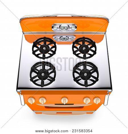 Orange Vintage Retro Stove Top View Isolated On White. 3d Illustration