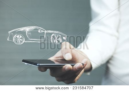 Business Man Hand  Smart Phone With Car On